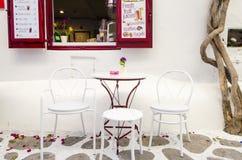 Caffè di Mykonos, Grecia Fotografia Stock