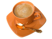 Caffè di Noggin con gomma piuma ed il cucchiaino da tè Fotografia Stock Libera da Diritti