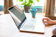 Caffè di Using Laptop In della donna di affari Fotografie Stock Libere da Diritti
