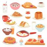 Caffè di vettore della prima colazione ed uova fritte con l'insieme dolce dell'illustrazione del dessert di mattina del porridge  royalty illustrazione gratis