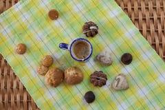 Caffè, dolci e caramella fotografia stock