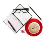 Caffè e articoli per ufficio Immagine Stock Libera da Diritti