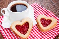 Caffè e biscotti con inceppamento Fotografia Stock Libera da Diritti