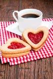Caffè e biscotti con inceppamento Fotografia Stock