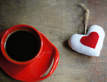 Caffè e cuore Fotografie Stock Libere da Diritti