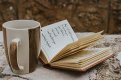 Caffè e diario Immagini Stock Libere da Diritti