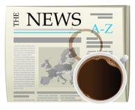 Caffè e giornale di dolore Fotografia Stock Libera da Diritti