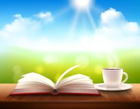 Caffè e libro Fotografia Stock