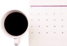 Caffè e pianificatore di giorno II Fotografia Stock Libera da Diritti