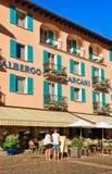 Caffè e ristoranti in Ascona nel Ticino della Svizzera Immagine Stock Libera da Diritti