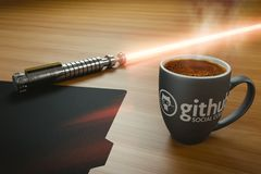Caffè e spada laser Immagine Stock Libera da Diritti