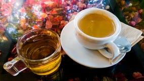 Caffè e tè in caffè Immagini Stock