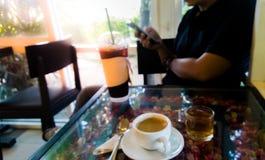 Caffè e tè in caffè Immagine Stock