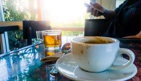 Caffè e tè in caffè Fotografia Stock