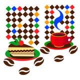 Caffè e torta stilizzati Immagini Stock