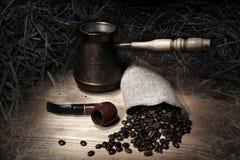 Caffè e tubo Fotografia Stock