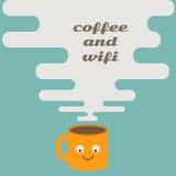 Caffè e wifi sul retro concetto royalty illustrazione gratis