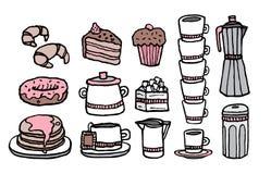 Caffè ed alimento dolce/insieme scritto a mano della roba del caffè Immagini Stock Libere da Diritti