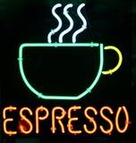 Caffè espresso al neon Fotografie Stock