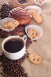 Caffè espresso con il biscotti Fotografia Stock Libera da Diritti