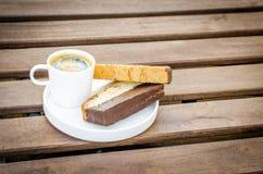 Caffè espresso con il biscotti Fotografie Stock