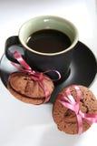 Caffè espresso del caffè ed ossequio del biscotto Immagine Stock Libera da Diritti