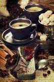 Caffè espresso italiano appena preparato Fotografia Stock