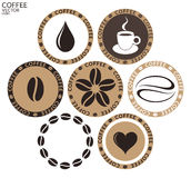 Caffè etichetta su fondo bianco Immagine Stock Libera da Diritti