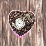 Caffè a forma di del cuore Immagine Stock