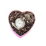 Caffè a forma di del cuore Fotografie Stock