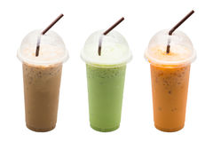 Caffè ghiacciato, latte del tè verde, tè del latte immagine stock