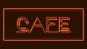 Caffè - insegna al neon marrone chiaro su un fondo marrone illustrazione vettoriale