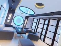 Caffè interno contemporaneo futuristico nei colori blu acidi illustrazione vettoriale