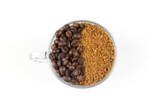 Caffè macinato e fagioli Immagini Stock Libere da Diritti