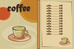 Caffè menu Fotografia Stock Libera da Diritti