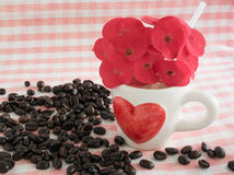Caffè nel tema di amore Fotografie Stock Libere da Diritti