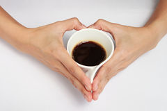 Caffè nella figura del cuore Fotografia Stock
