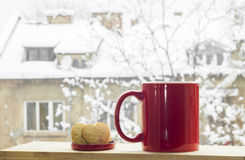 Caffè nella neve immagine stock libera da diritti