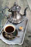Caffè nero ed accessori Fotografia Stock