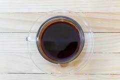 Caffè nero sulla tabella di legno Immagini Stock Libere da Diritti