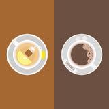 Caffè, pacchetto della scrematrice e cubi dello zucchero Immagini Stock Libere da Diritti