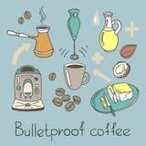 Caffè a prova di proiettile Insieme di colore Schizzo di vettore Immagini Stock Libere da Diritti