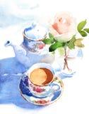 Caffè Rose Illustration Hand Drawn della prima colazione di mattina dell'acquerello Immagini Stock