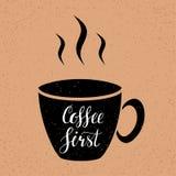 Caffè scritto first-hand segnando illustrazione con lettere illustrazione di stock