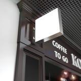 Caffè su onblurred di derisione di squard dell'insegna Immagine Stock