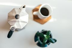 Caffè su una tavola Fotografia Stock