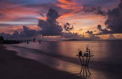 Caffè sulla spiaggia e sul randello di immersione subacquea Fotografia Stock