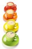 Caffè in tazze variopinte Immagine Stock