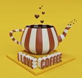 Caffè in teiera, amo la rappresentazione del testo 3d del caffè royalty illustrazione gratis