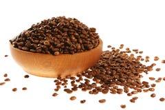 Caffè in un mortaio di legno Fotografie Stock